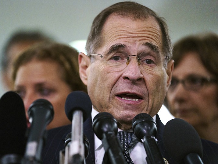"House Judiciary Committee ranking member Jerry Nadler, D-N.Y., talks to media during a Senate Judiciary Committee hearing Sept. 28, 2018, on Capitol Hill in Washington. Nadler, the top Democrat on the House Judiciary Committee says he believes it would be an ""impeachable offense"" if it's proven that President Donald Trump directed illegal hush-money payments to women during the 2016 campaign. (Carolyn Kaster/AP, File)"