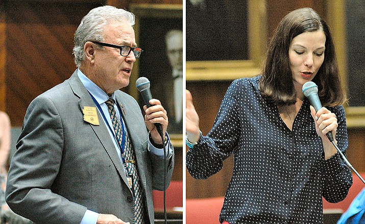 Rep. Noel Campbell and Rep. Michelle Ugenti-Rita. (Howard Fischer/Capitol Media Services, file)