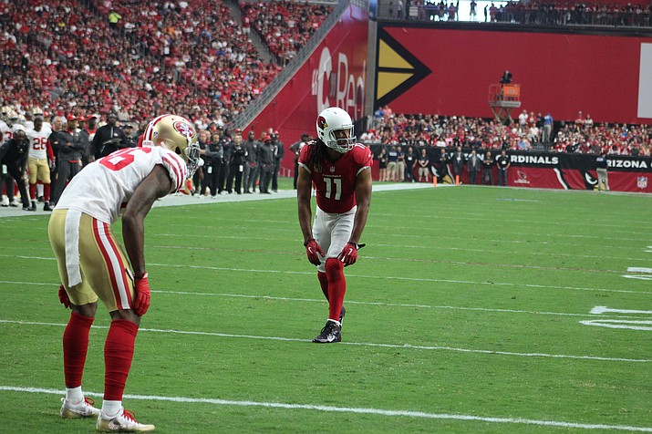 In this 2017 file photo, Larry Fitzgerald lines up against the San Francisco 49ers. Fitzgerald made his 1,282nd career catch to surpass NFL Hall of Famer Jerry Rice for the most receptions with one team in NFL history during the Arizona Cardinals' 17-3 loss to Detroit on Sunday, Dec. 9. (Daily Miner file photo)