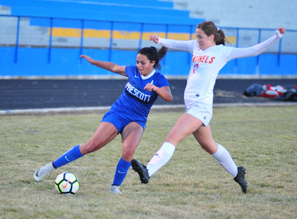 Prescott's Emma Alvarez moves the ball from the corner as the Badgers take on Seton Catholic Sentinels  Tuesday, Dec. 11, 2018 in Prescott. (Les Stukenberg/Courier).