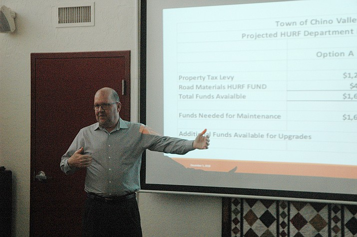Chino Valley Finance Director Joe Duffy explains the proposal for a property tax to pay for road maintenance at a community meeting in the Chino Valley Public Library Community Room Wednesday, Dec. 5. (Jason Wheeler/Review)