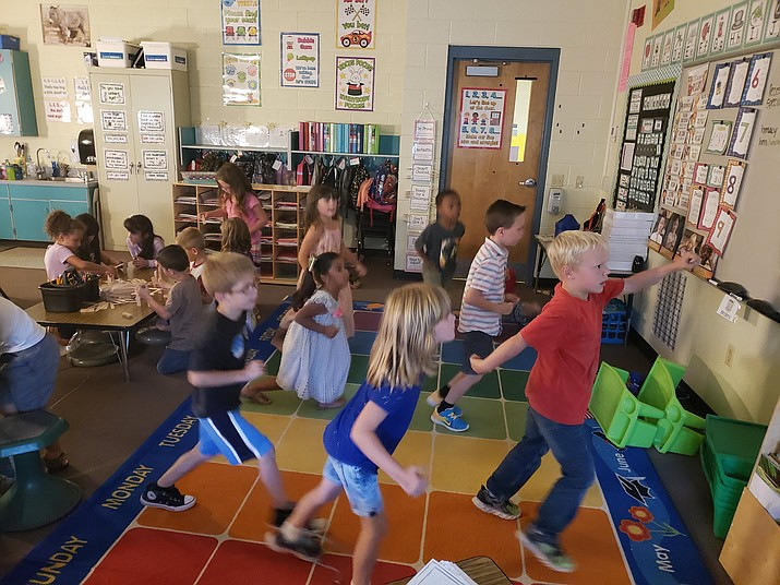 First-grade students in Haley Macy's classroom at Coyote Springs Elementary School participate in short physical activities throughout the day through an online program called GoNoodle. Yavapai Regional Medical Center paid for the program for Humboldt Unified School District schools. (HUSD/ Courtesy)