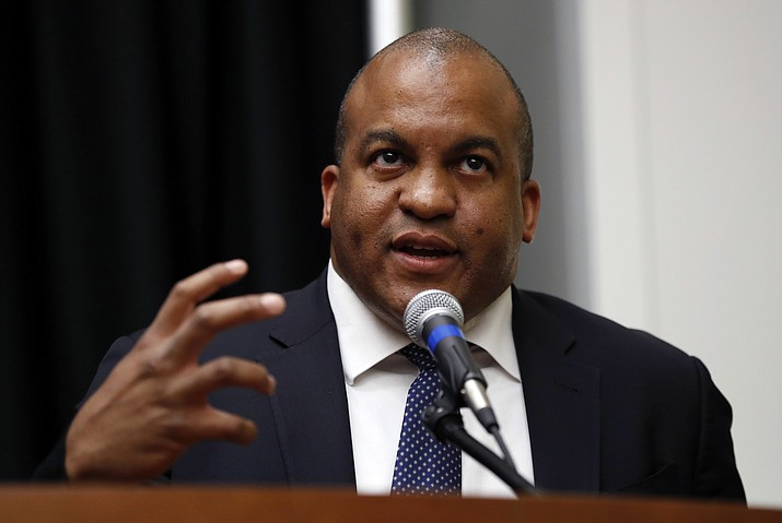 In this May 30, 2017, file photo, NBA G League President Malcolm Turner speaks during a news conference in Des Moines, Iowa. Vanderbilt has hired NBA G League President Malcolm Turner as its new athletic director, going with a business executive over candidates with experience in college athletic administration for the Southeastern Conference's only private university. (Charlie Neibergall/AP, File)