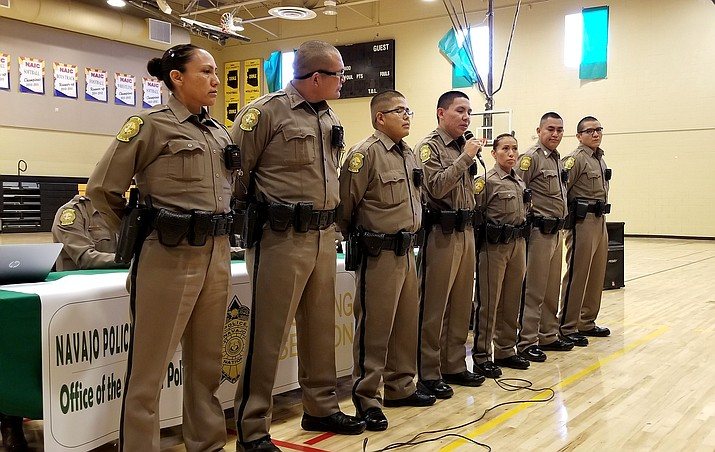 Navajo Police recruits introduce themselves during the Navajo Police Department listening sessions in Chinle, Arizona. (Photo/Navajo Nation Police Department)