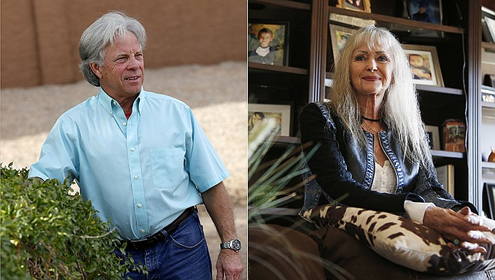 Joseph Soldwedel (left), the owner of the Prescott Daily Courier, Williams-Grand Canyon News and Navajo-Hopi Observer, and his estranged wife Felice Soldwedel (right) are locked in a nasty divorce dispute that includes allegations of poisoning. (AP Photos)