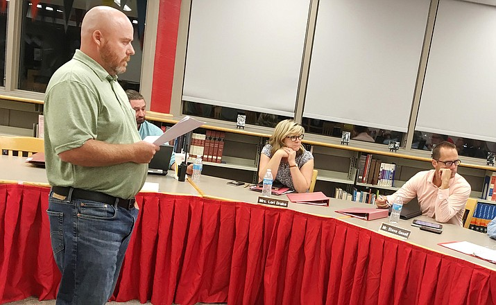 Phil Tanner, pictured speaking to the Mingus Union School Board in July, was reinstated as the school's Special Education director Wednesday by the board. Tanner will resume his duties in January 2019. VVN/Bill Helm