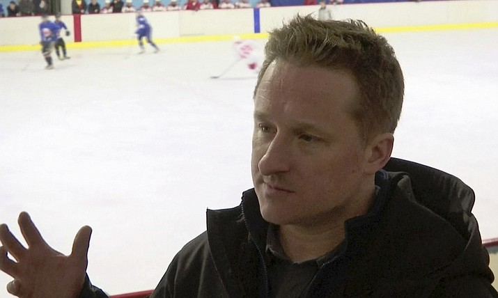 In this image made from video taken on March 11, 2016, entrepreneur Michael Spavor speaks during a friendly ice hockey match between visiting foreigners and North Korean players in Pyongyang, North Korea. (AP Photo)