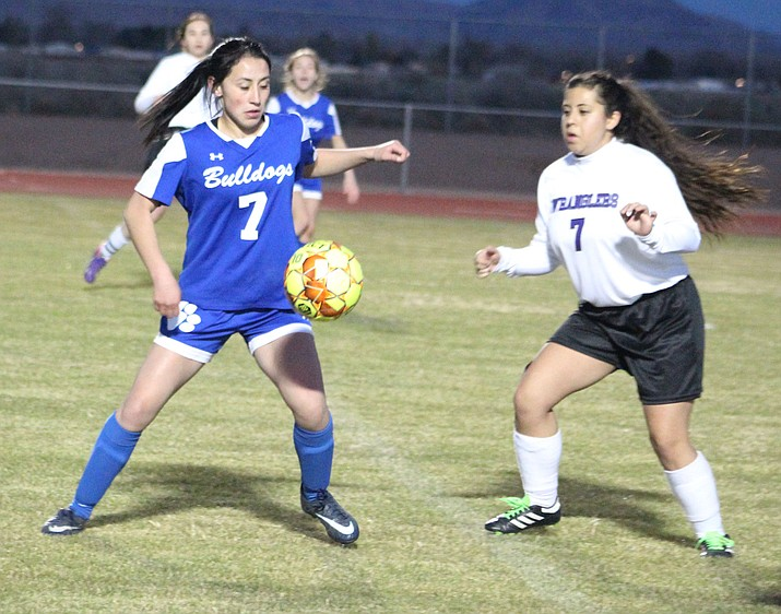Kingman High's Elvira Torres scored two goals Thursday night to lead the Lady Bulldogs past Wickenburg 3-1. (Photo by Beau Bearden/Daily Miner)