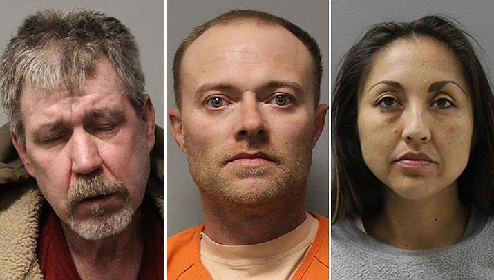 From left, 53-year-old Prescott Valley resident Todd Bearden, 35-year-old Christopher Robertson from Prescott, and 32-year-old Kara Lyn Law of Prescott have been arrested on drug charges by Partners Against Narcotics Trafficking detectives (PANT). (Courtesy photos)