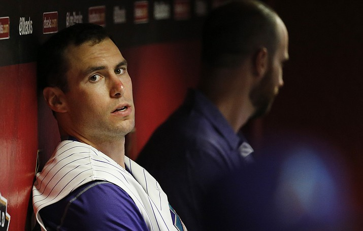 Arizona Diamondbacks' Paul Goldschmidt sits in the dugout prior to a baseball game against the St. Louis Cardinals Thursday, Aug. 27, 2015, in Phoenix. (Ross D. Franklin/AP)