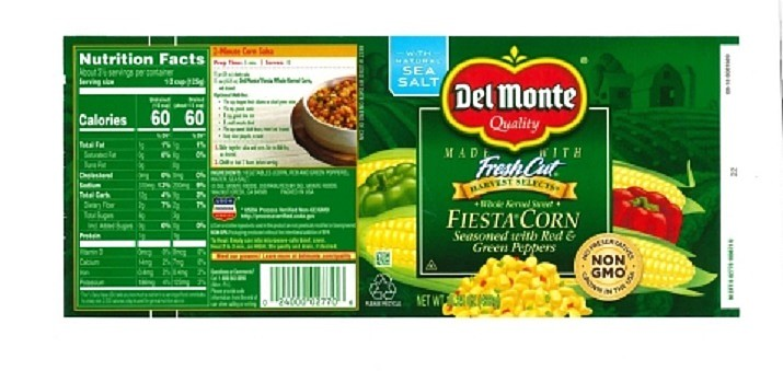 Del Monte Foods announces limited recall of canned fiesta corn seasoned with red and green peppers due to under processing