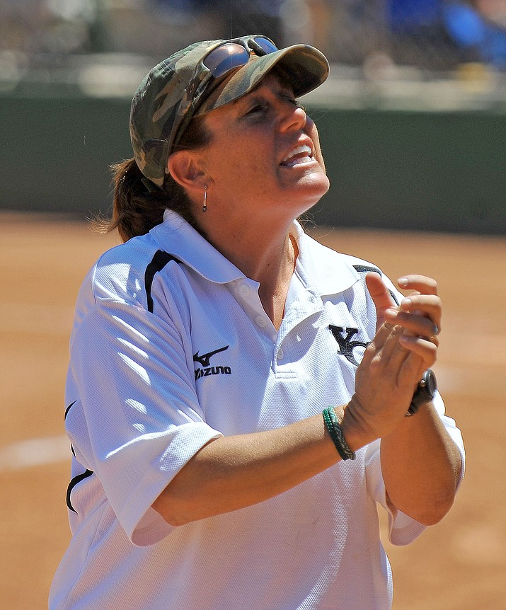 Former Yavapai College softball coach Stacy Iveson, shown here coaching the Roughriders in 2011, was named head coach of Team Israel on Dec. 13, 2018. Currently the director of recruiting-operations for University of Arizona's softball team in Tucson, Iveson hopes to lead Team Israel to a berth in the Tokyo Olympics in 2020. (Courier file)