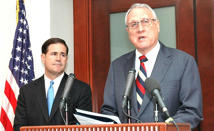 U.S. Sen Jon Kyl with Arizona Gov. Doug Ducey. Howard Fischer/Capitol Media Services file photo
