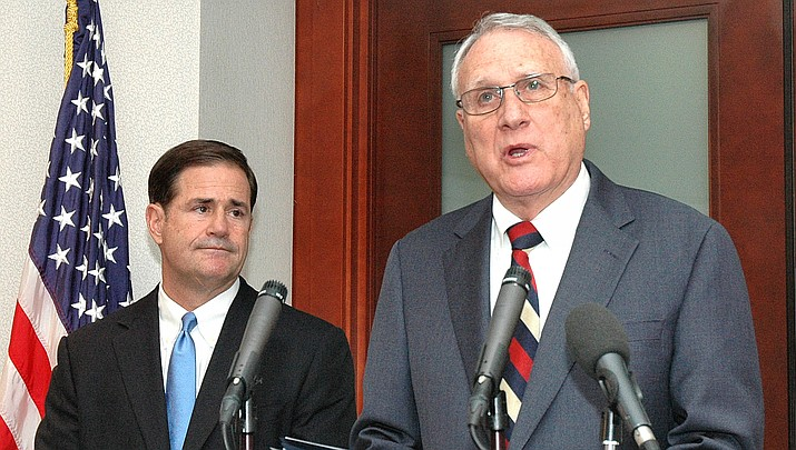 Jon Kyl answers questions in September after being named by Gov. Doug Ducey to temporarily replace John McCain. Ducey will now need to find a replacement for Kyl. (Capitol Media Services file photo by Howard Fischer)