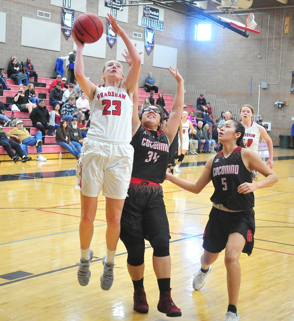 Bradshaw Mountain's Rylee Bundrick gets a fast break as the Bears hosted Coconino in a doubleheader hoops matchup Saturday, Dec. 15, 2018 in Prescott Valley. (Les Stukenberg/Courier).