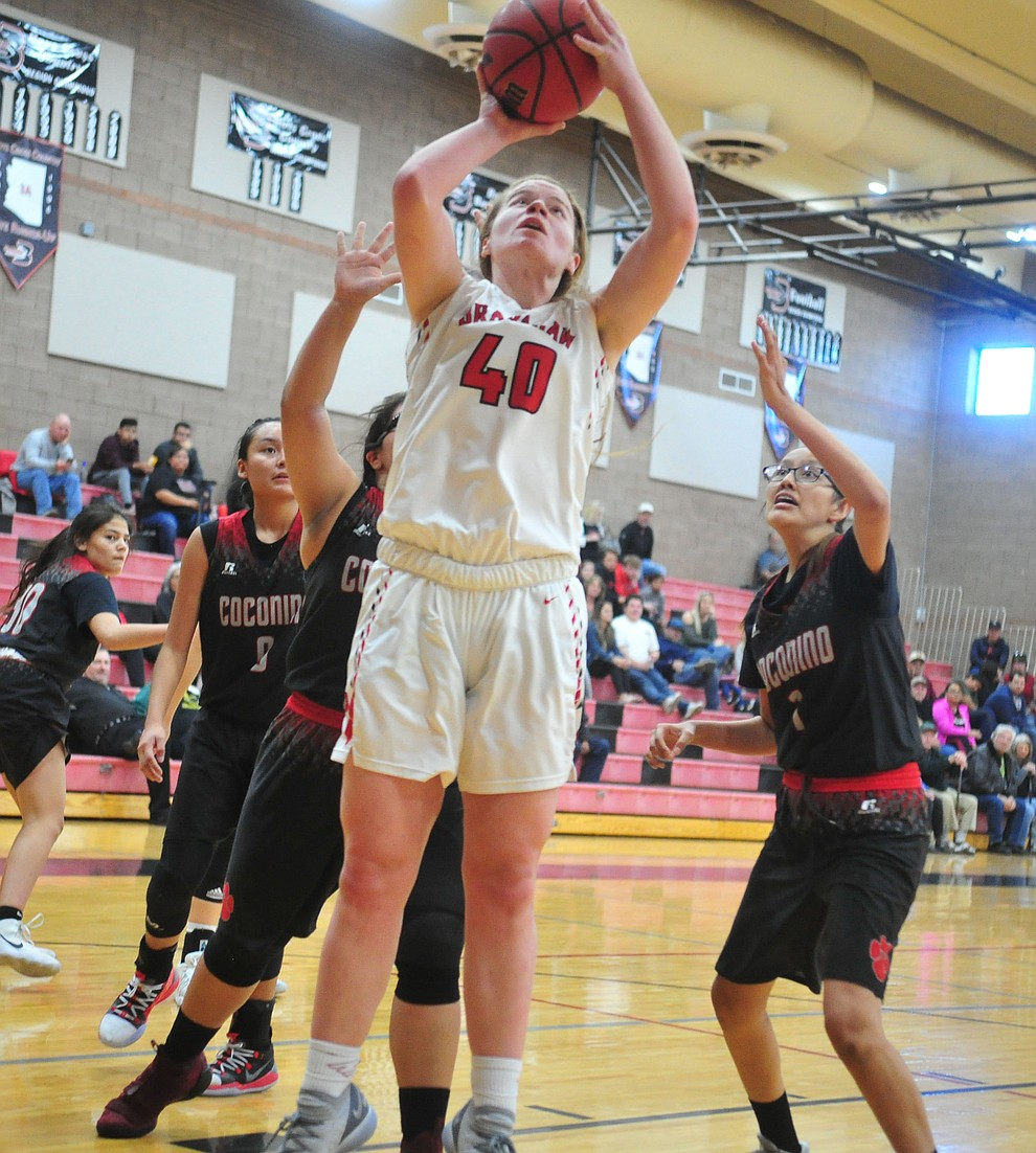 Bradshaw Mountain's Delanie Clark goes up under the basket as the Bears hosted Coconino in a doubleheader hoops matchup Saturday, Dec. 15, 2018 in Prescott Valley. (Les Stukenberg/Courier).