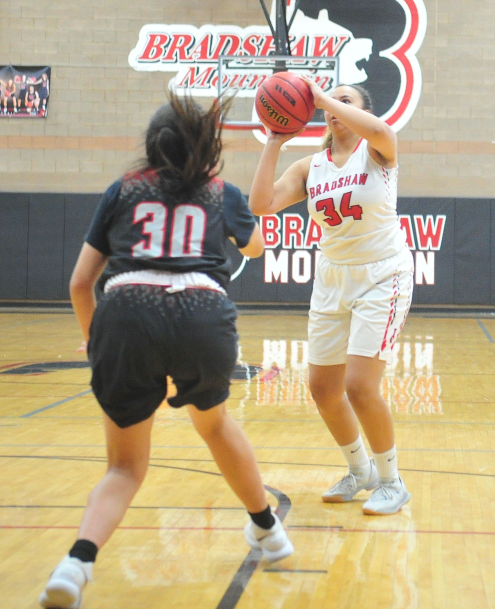 Bradshaw Mountain's Alexis Lara takes aim from outside as the Bears hosted Coconino in a doubleheader hoops matchup Saturday, Dec. 15, 2018 in Prescott Valley. (Les Stukenberg/Courier).