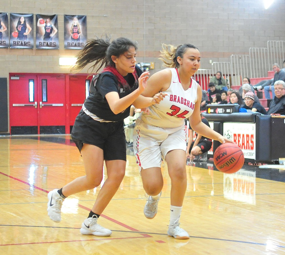 Bradshaw Mountain's Alexis Lara drives the ball upcourt as the Bears hosted Coconino in a doubleheader hoops matchup Saturday, Dec. 15, 2018 in Prescott Valley. (Les Stukenberg/Courier).