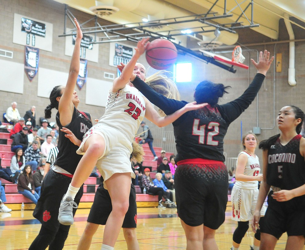 Bradshaw Mountain's Rylee Bundrick gets fouled while shooting as the Bears hosted Coconino in a doubleheader hoops matchup Saturday, Dec. 15, 2018 in Prescott Valley. (Les Stukenberg/Courier).