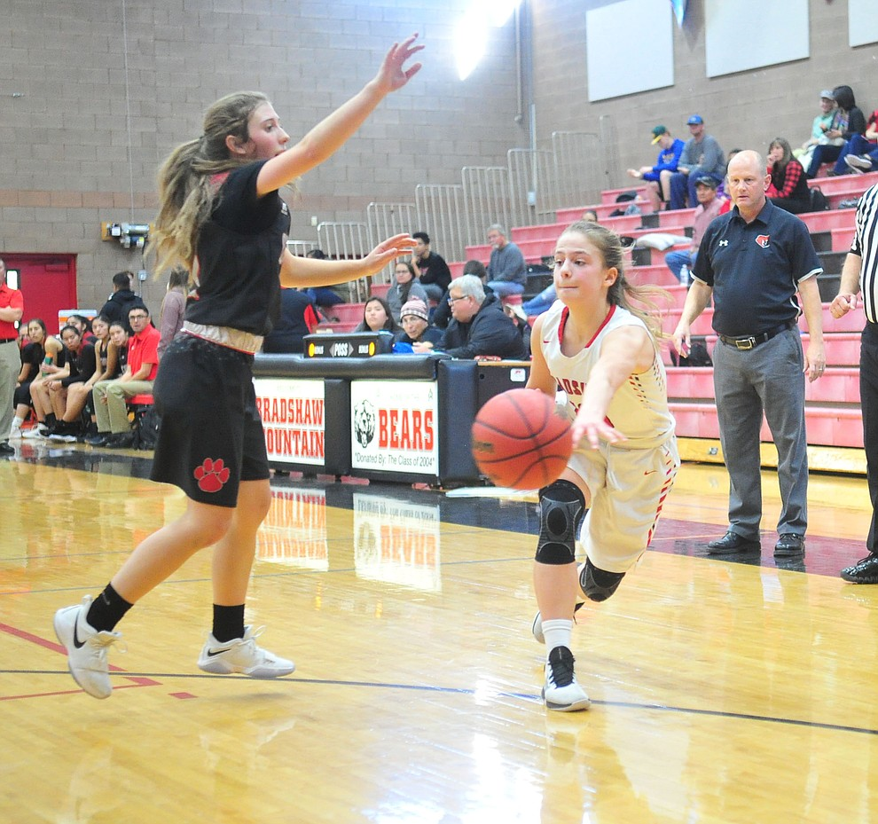 Bradshaw Mountain's Brinlee Kidd passes the ball as the Bears hosted Coconino in a doubleheader hoops matchup Saturday, Dec. 15, 2018 in Prescott Valley. (Les Stukenberg/Courier).