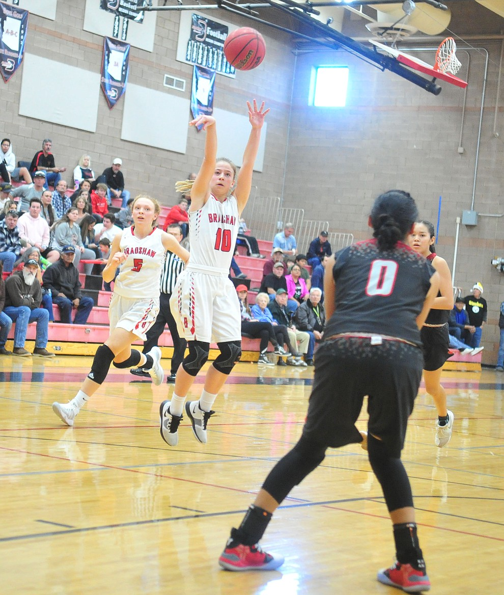 Bradshaw Mountain's Brinlee Kidd shoots as the Bears hosted Coconino in a doubleheader hoops matchup Saturday, Dec. 15, 2018 in Prescott Valley. (Les Stukenberg/Courier).