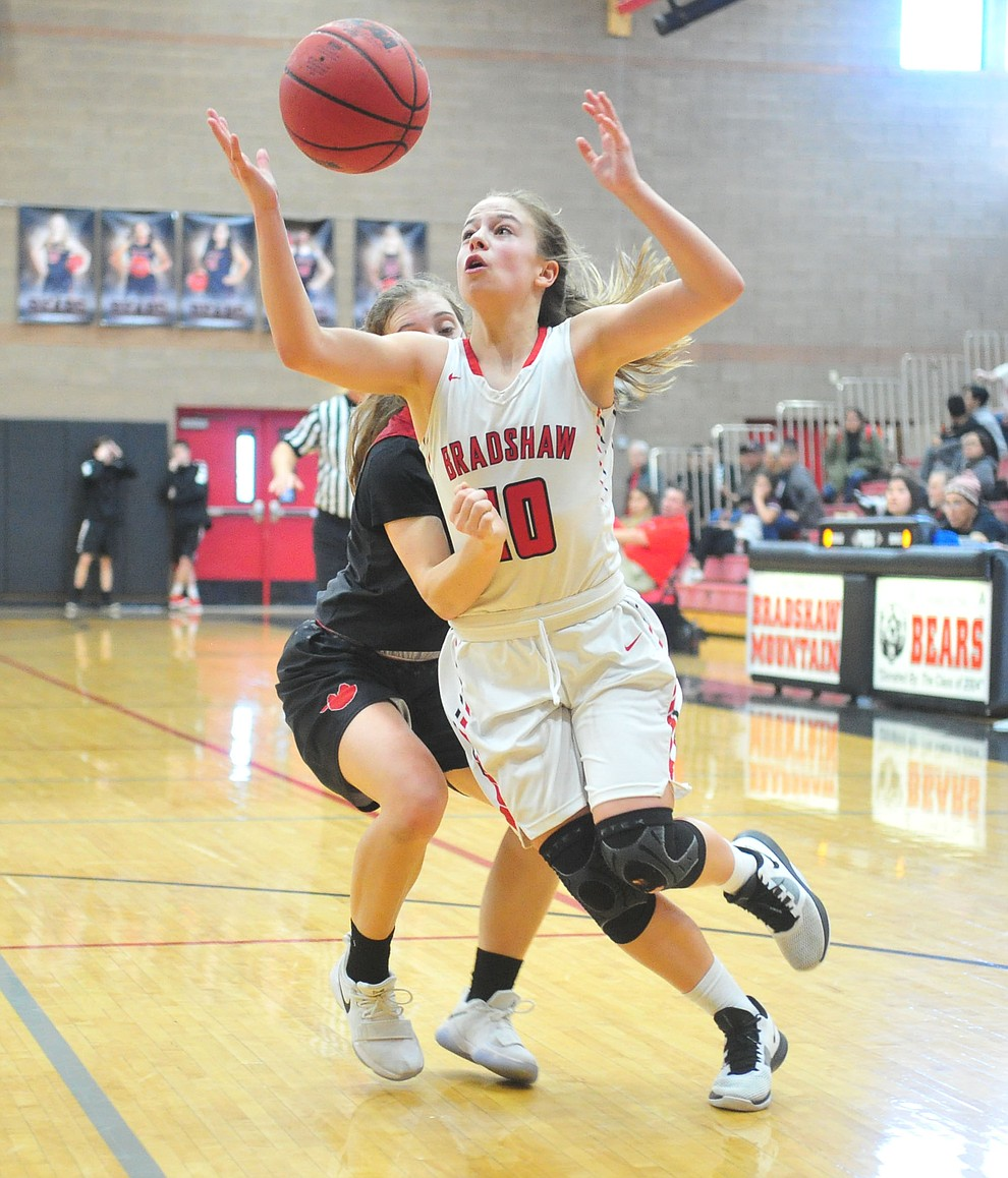 Bradshaw Mountain's Brinlee Kidd grabs the ball as the Bears hosted Coconino in a doubleheader hoops matchup Saturday, Dec. 15, 2018 in Prescott Valley. (Les Stukenberg/Courier).
