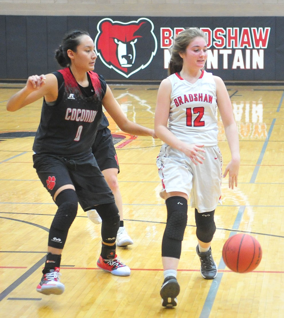 Bradshaw Mountain's Macy Fournier dribbles upcourt as the Bears hosted Coconino in a doubleheader hoops matchup Saturday, Dec. 15, 2018 in Prescott Valley. (Les Stukenberg/Courier).