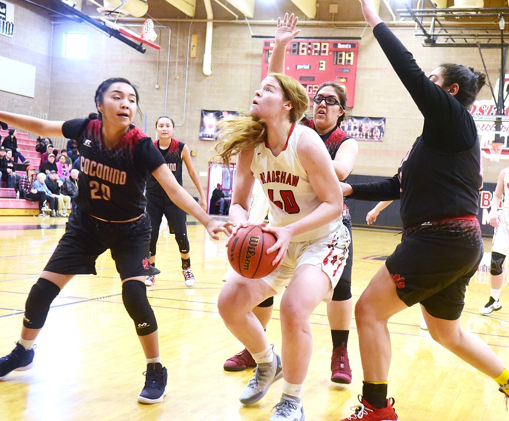 Bradshaw Mountain's Delanie Clark prepares to shoot as the Bears hosted Coconino in a doubleheader hoops matchup Saturday, Dec. 15, 2018 in Prescott Valley. (Les Stukenberg/Courier).