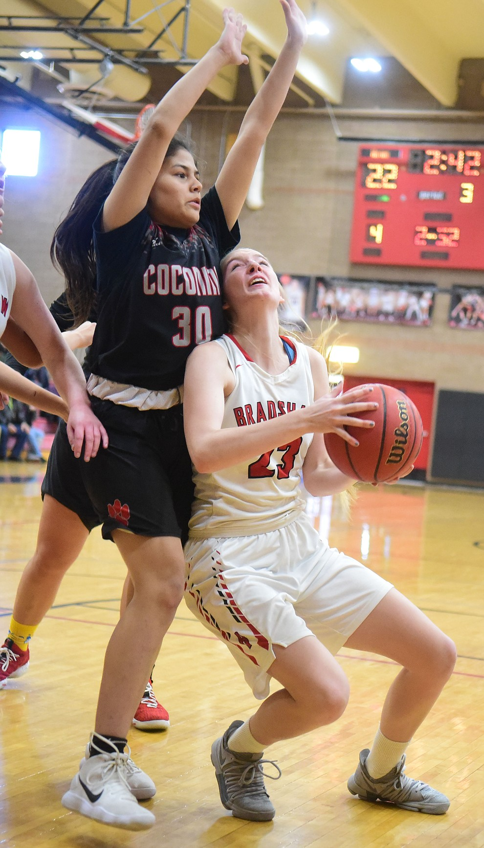 Bradshaw Mountain's Rylee Bundrick draws the fall in the paint as the Bears hosted Coconino in a doubleheader hoops matchup Saturday, Dec. 15, 2018 in Prescott Valley. (Les Stukenberg/Courier).
