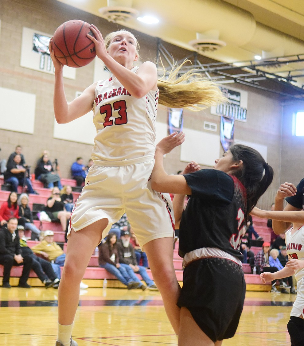 Bradshaw Mountain's Rylee Bundrick goes up for a shot as the Bears hosted Coconino in a doubleheader hoops matchup Saturday, Dec. 15, 2018 in Prescott Valley. (Les Stukenberg/Courier).