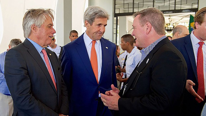 U.S. Olympic Committee CEO Scott Blackmun, far right, meets with John Kerry and David Thorne at the Brazilian Naval Academy in Rio de Janeiro, Brazil. (State Department Photo/ Public Domain)