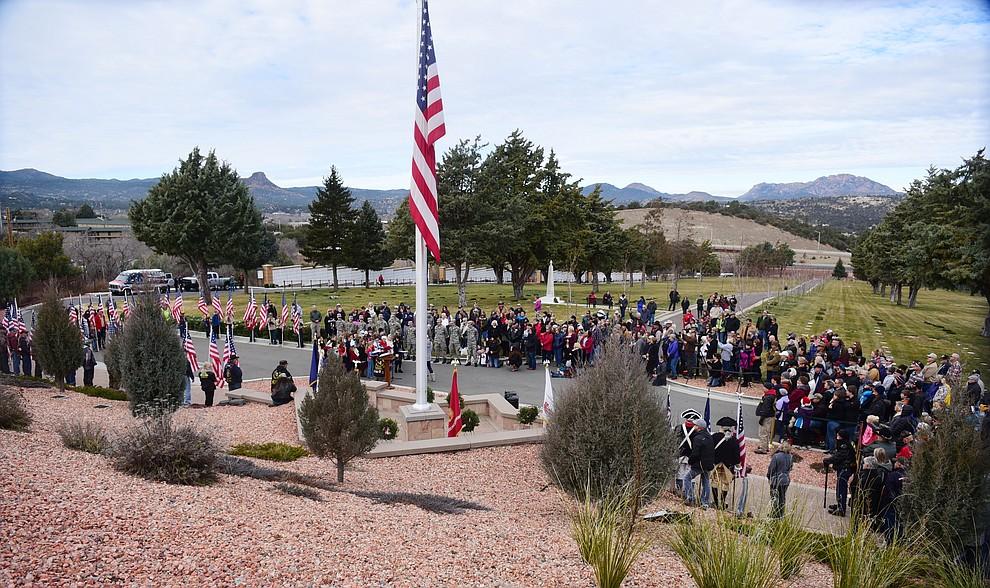 The Wreaths Across America ceremony where 2106 veteran remembrance wreaths at the Prescott National Cemetery Saturday, Dec. 15, 2018. (Les Stukenberg/Courier).