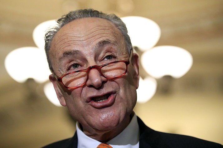 Senate Minority Leader Chuck Schumer, D-N.Y., speaks to reporters Dec. 11, 2018, on Capitol Hill in Washington. The White House on Sunday, Dec. 16, pushed the federal government closer to the brink of a partial shutdown later this week, digging in on its demand for $5 billion to build a border wall as congressional Democrats stood firm against it. (Manuel Balce Ceneta/AP, File)