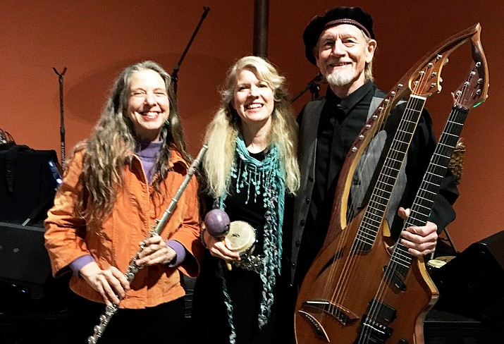 Earth Speak includes: flutist-vocalist Claudia Tulip, vocalist-percussionist Susannah Martin, harp guitarist William Eaton, and harp-bass guitarist Bart Applewhite (inset).