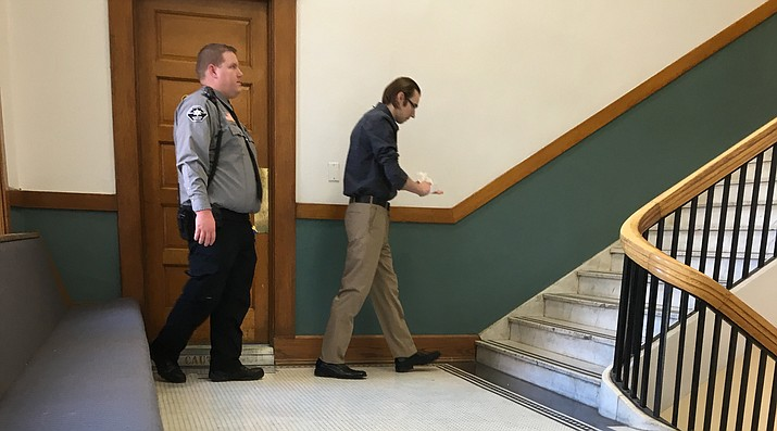 Buddy Wallace, shown leaving the restroom at Mohave County Superior Court, is facing aggravated circumstances in the second-degree murder of Charles John McCarty of Yucca in October 2015. (Daily Miner file photo)