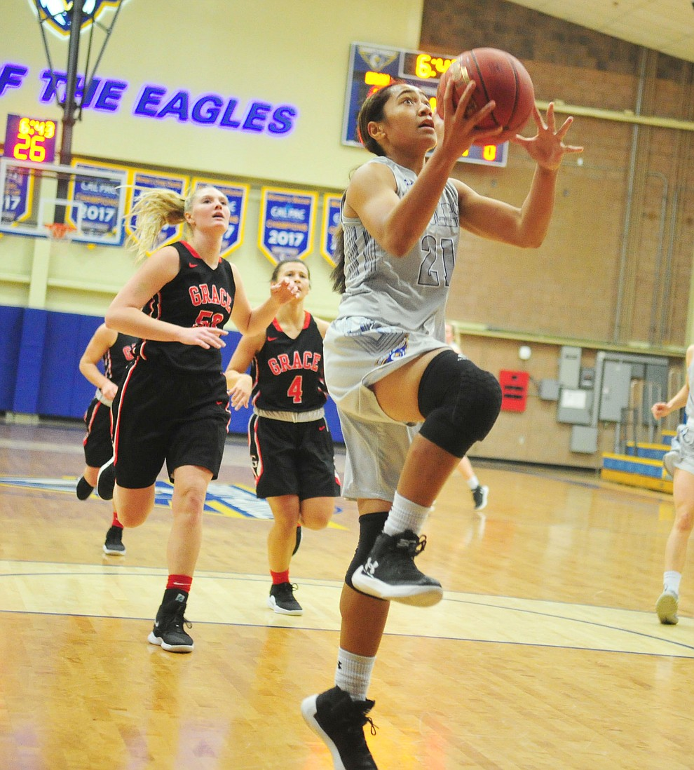 Embry Riddle's Jazlyn Maletino takes a fast break in for two-points as the Eagles hosted the Grace Lancers Tuesday, Dec. 18, 2018 in Prescott. (Les Stukenberg/Courier).