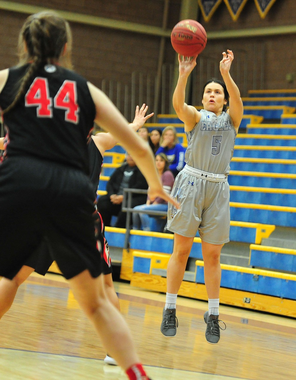 Embry Riddle's Bethany Wolph takes a three-pointer as the Eagles hosted the Grace Lancers Tuesday, Dec. 18, 2018 in Prescott. (Les Stukenberg/Courier).