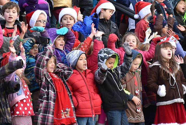 "Children from Lincoln Elementary School in Prescott gathered on the Courthouse steps Dec. 21, 2017, to present the annual ""Caroling at the Courthouse"" concert. (Richard Haddad/WNI file)"