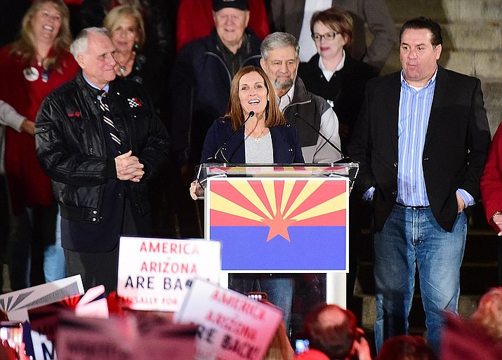 Former United States Senate candidate Martha McSally speaks during a Republican rally on the Yavapai County Courthouse steps Monday, Nov. 5, 2018 in Prescott. Gov. Doug Ducey is appointing McSally to the Senate to replace Jon Kyl, who replaced John McCain after his death in August. Kyl told Ducey he was resigning effective the end of the month. (Les Stukenberg/Courier)