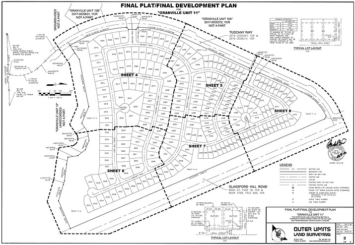 Final Development Plan by Universal Homes Construction for Granville Unit 11 on the west side of Glassford Hill Road north of Santa Fe Loop Road. (Courtesy/Town of Prescott Valley)