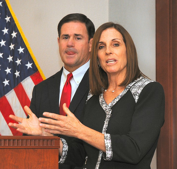 Martha McSally answers questions Tuesday on the heels of Gov. Doug Ducey appointing her to the U.S. Senate to fill out the next two years of the term of Sen. John McCain who died in August. (Howard Fischer/Capitol Media Services)