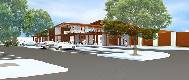 An artist's rendering from outside Prescott Regional Airport.