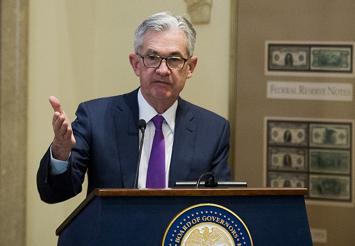 Federal Reserve Chairman Jerome Powell addresses the Federal Reserve Board's 15th annual College Fed Challenge Finals on Nov. 29, 2018, in Washington. (Cliff Owen/AP, File)