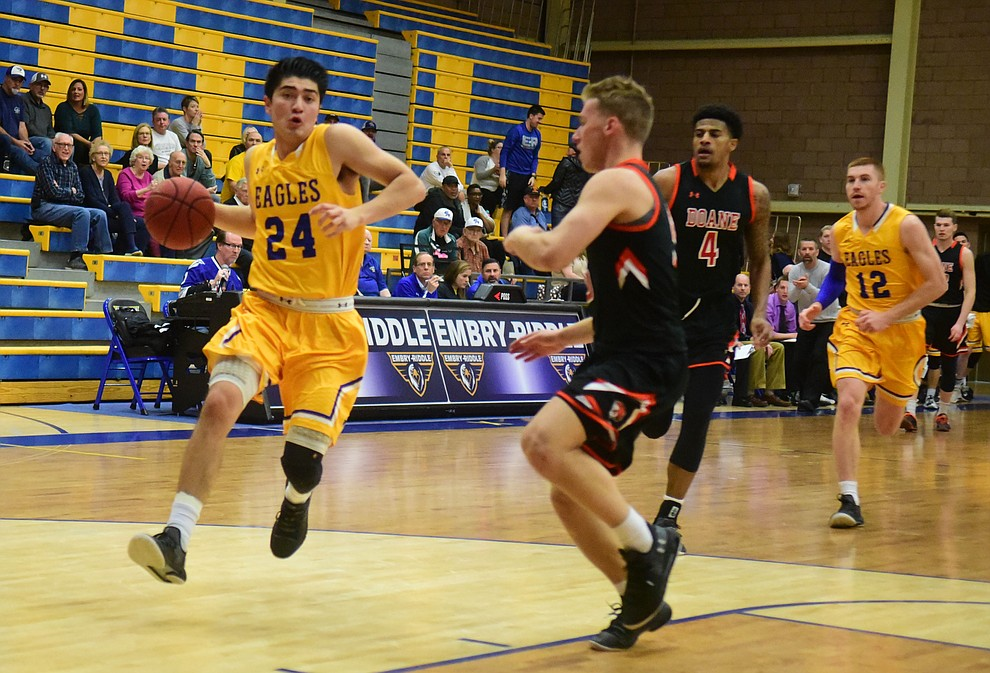 Embry Riddle's Gilbert Ibarra takes a steal to the lane as the Eagles face the Doane Tigers Thursday, Dec. 20, 2018 in Prescott. (Les Stukenberg/Courier).