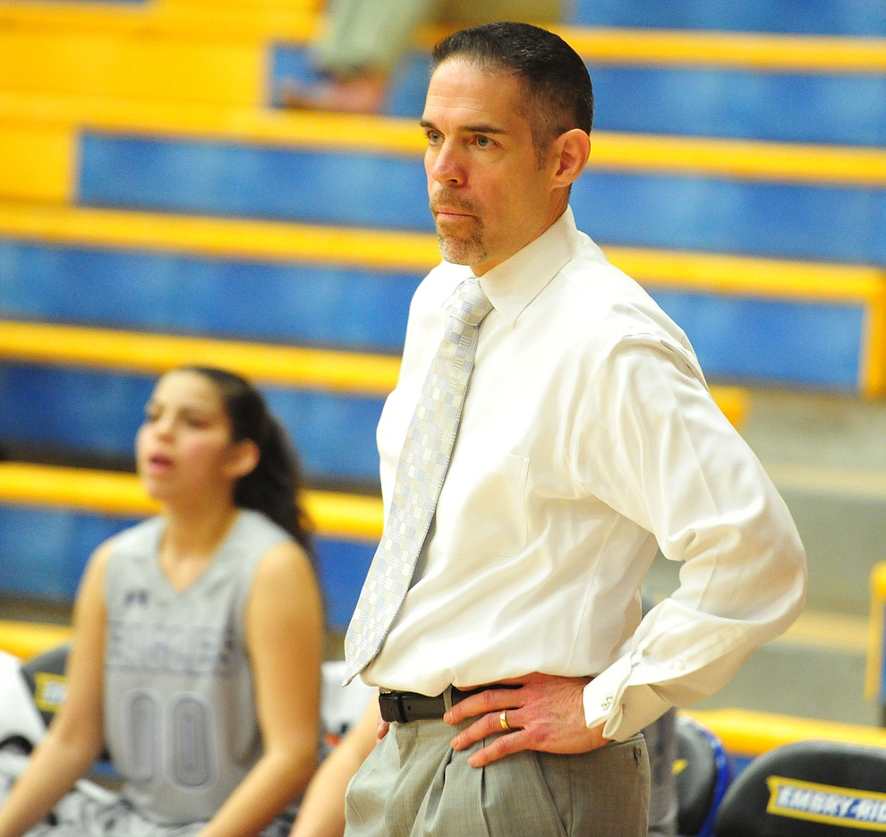Embry Riddle Head Coach Mike Trujillo watches the action as the Eagles face the Lincoln Christian Red Lions Thursday, Dec. 20, 2018 in Prescott. (Les Stukenberg/Courier).