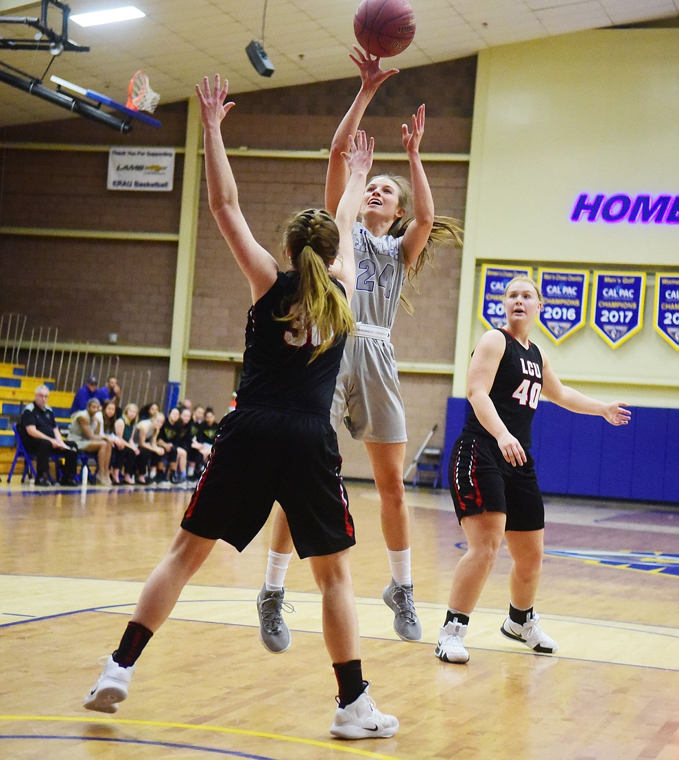 Embry Riddle's Melissa Pfeifer takes a shot as the Eagles face the Lincoln Christian Red Lions Thursday, Dec. 20, 2018 in Prescott. (Les Stukenberg/Courier).