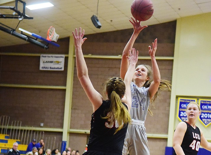 Embry Riddle's Melissa Pfeifer (24) takes a shot as the Eagles face the Lincoln Christian Red Lions Thursday, Dec. 20, 2018, in Prescott. (Les Stukenberg/Courier)