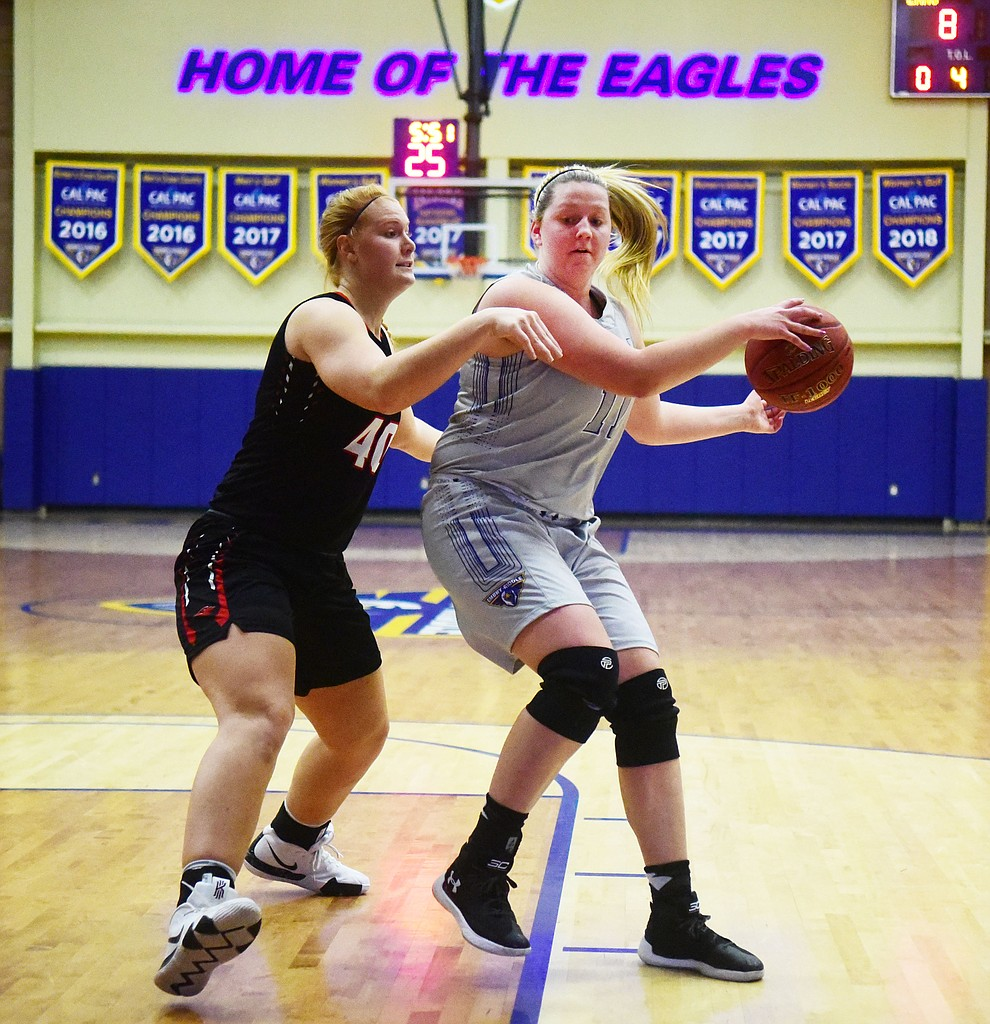 Embry Riddle's Katana Martina looks to pass as the Eagles face the Lincoln Christian Red Lions Thursday, Dec. 20, 2018 in Prescott. (Les Stukenberg/Courier).