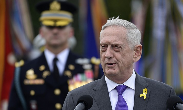 Defense Secretary Jim Mattis speaks Sept. 21, 2018, during the 2018 POW/MIA National Recognition Day Ceremony at the Pentagon in Washington. President Donald Trump says Mattis will be retiring at the end of February 2019 and that a new secretary will be named shortly. (Susan Walsh/AP, file)