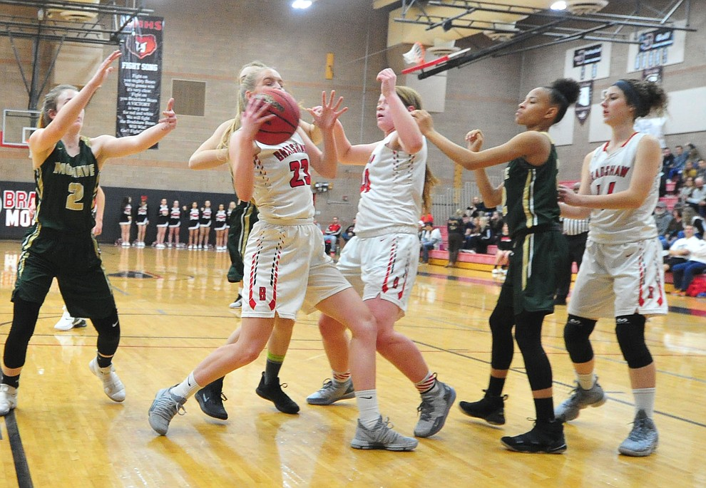 Bradshaw Mountain's Rylee Bundrick battles for a rebound as the Bears host the Mohave Thunderbirds in a basketball matchup Friday night in Prescott Valley. (Les Stukenberg/Courier).